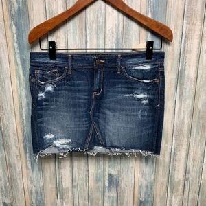 Ruehl No.925 Factory Distressed Denim Skirt sz 27